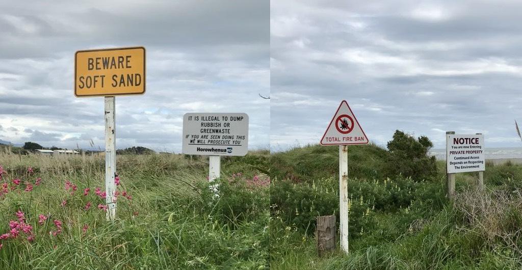 Beware soft sand; no dumping; no fires.