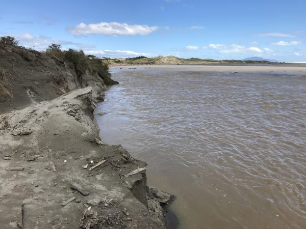 22 February 2018 high tide at what remains of the vehicle entrance.