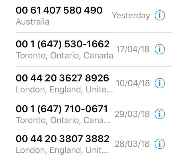 Some of the recent scam calls I received.