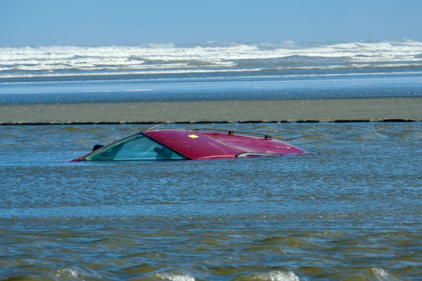Submerged vehicle at the river mouth.