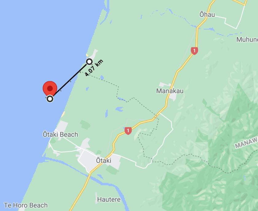 Distance from quake per Google Maps.
