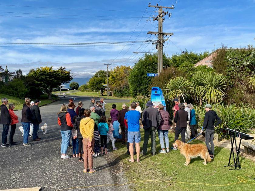 Around 40 people and a few dogs helped launch Awa Pukapuka.