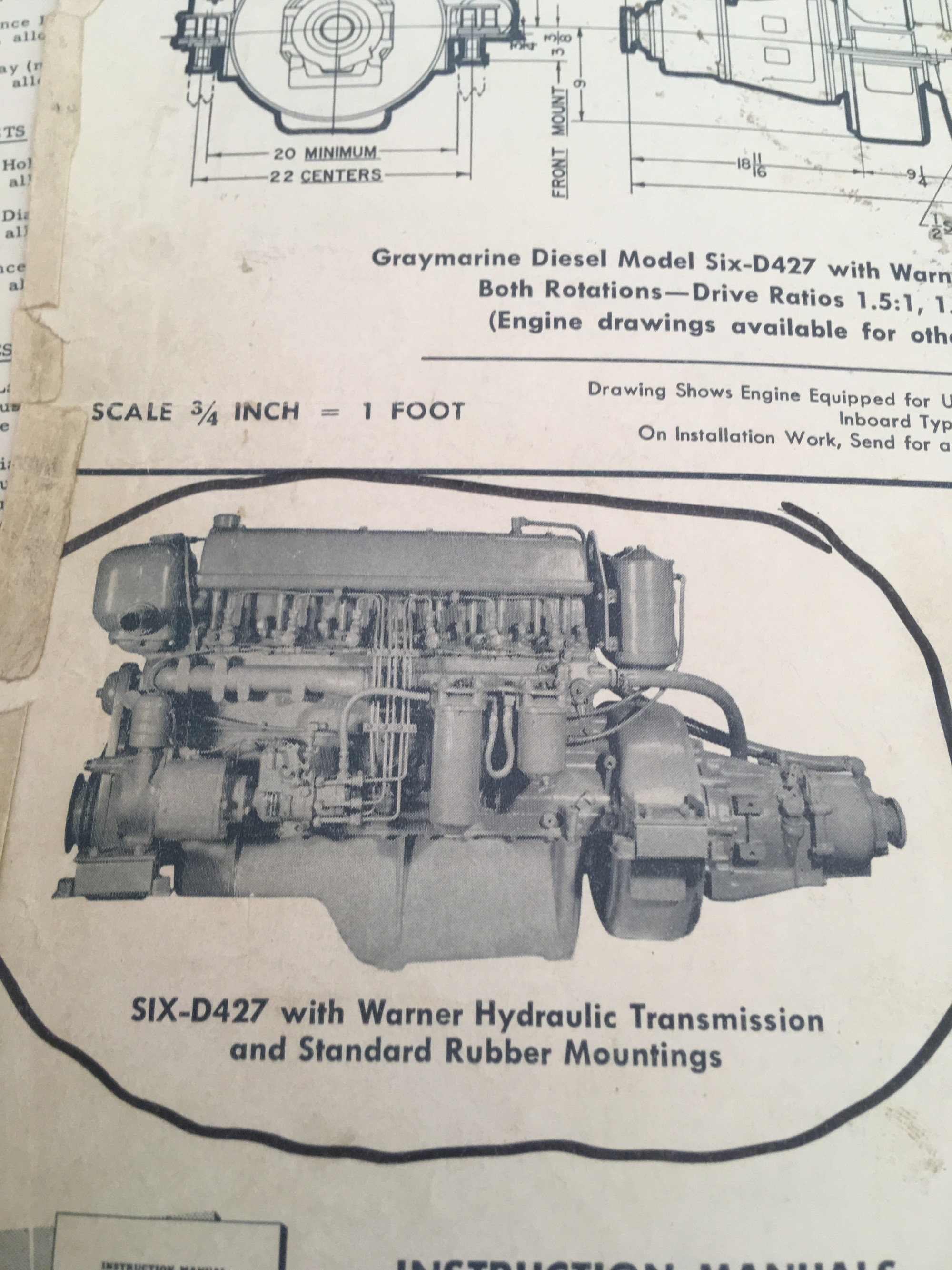 hight resolution of thetis engines 2 x graymarine 4 cycle 6 cyl installed 1960