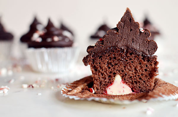 Chocolate Peppermint Kiss Cupcakes