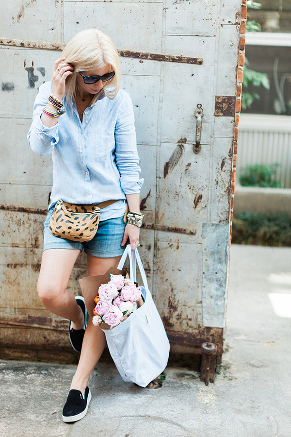 Leopard fanny pack and bag of pink peonies
