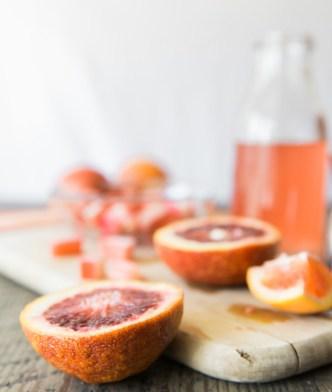 Blood orange rhubarb cocktail