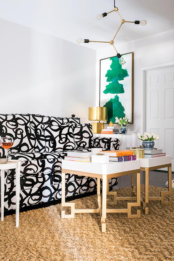 Custom Upholstered Black & White Couch, Waiting On Martha