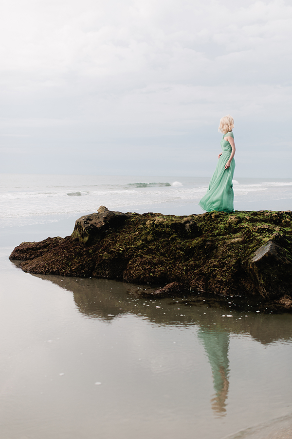 Stunning seafoam green dress on the shore, Waiting on Martha
