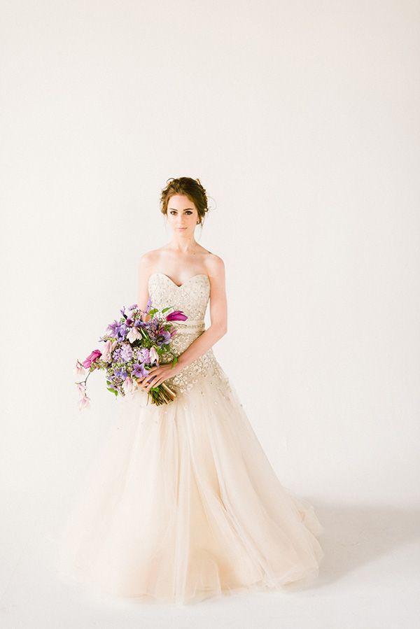 Purple bridal bouquet by Lindsay Coletta Designs, Waiting on Martha