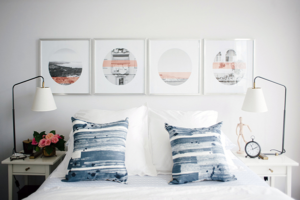 Bedroom wall art ideas and throw pillows via Waiting on Martha