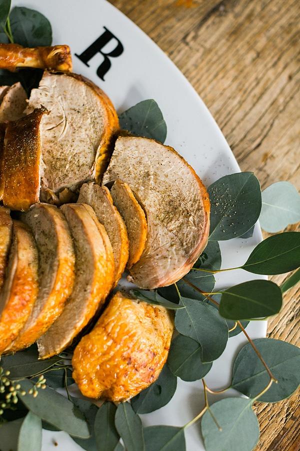 Thanksgiving turkey and monogrammed turkey platter