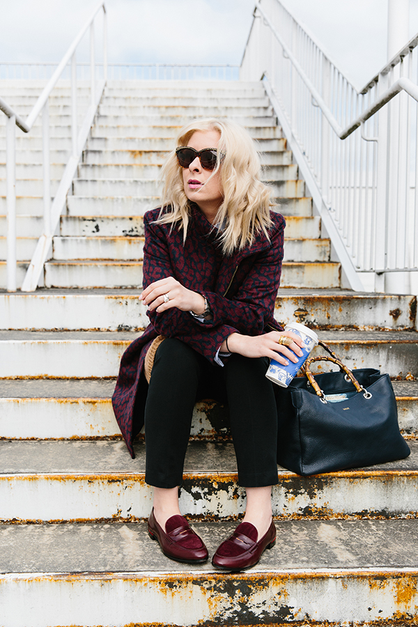 Maroon leopard coat outfit with penny loafers via Waiting on Martha