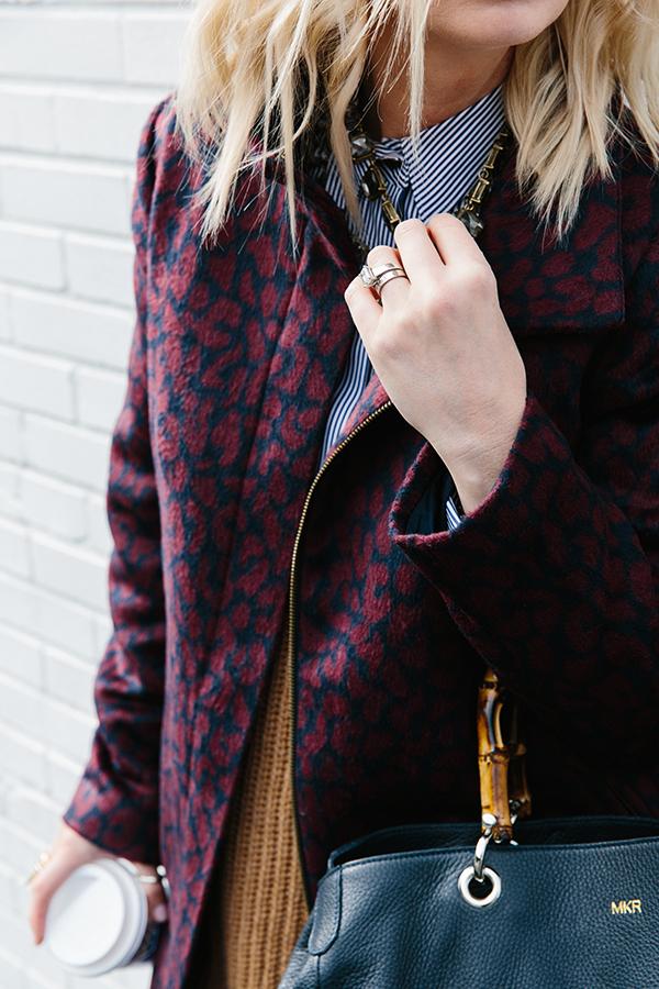 Maroon leopard coat via Waiting on Martha