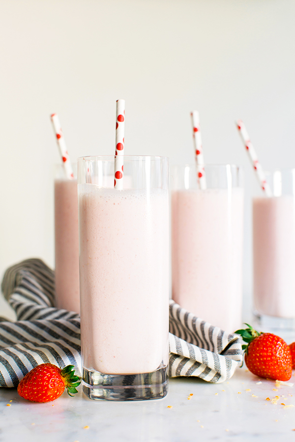 Strawberry Almond Milk recipe via Waiting on Martha