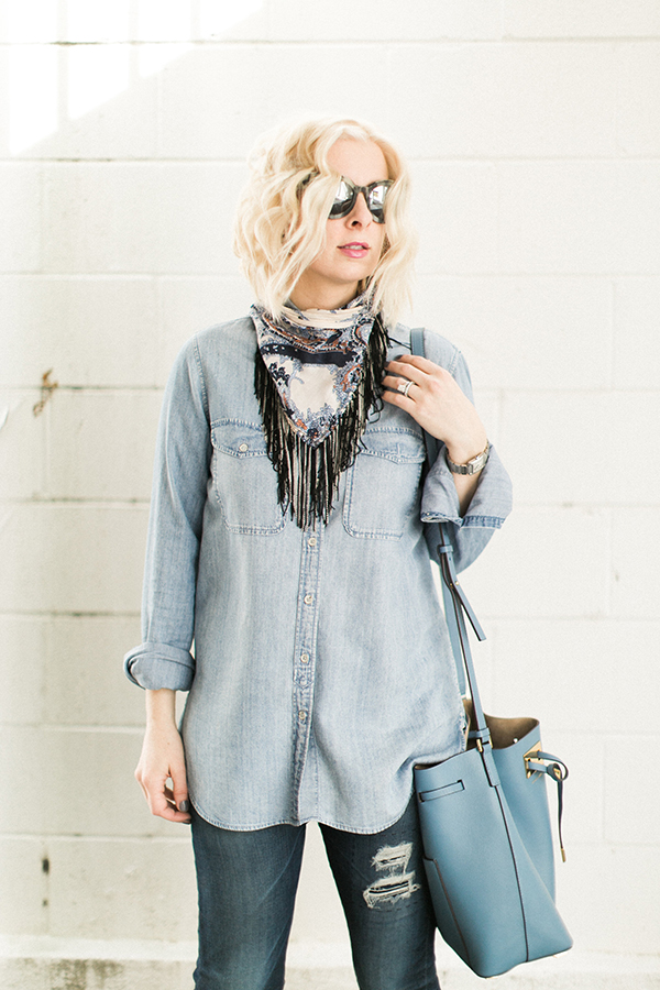 Chambray shirt and chained bandana outfit