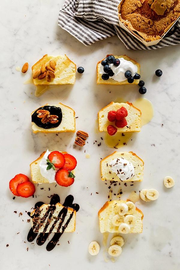 Pound cake toppings & recipe via Waiting on Martha