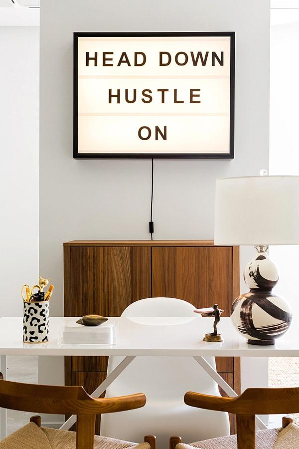 Head down hustle on lightbox, Waiting on Martha