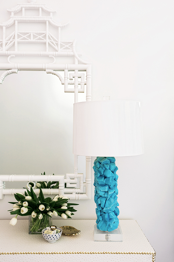 White pagoda mirror and blue stone lamp, Waiting on Martha #interiors #styling