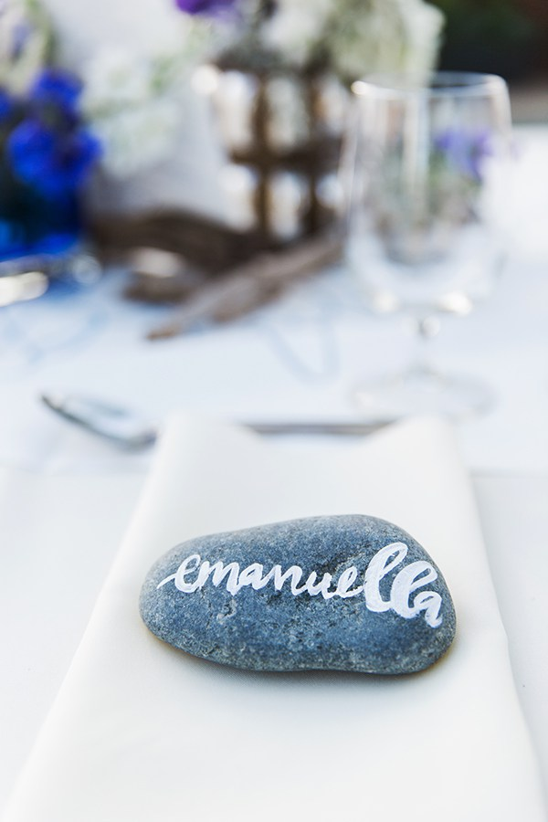 Stone place cards on tablescape