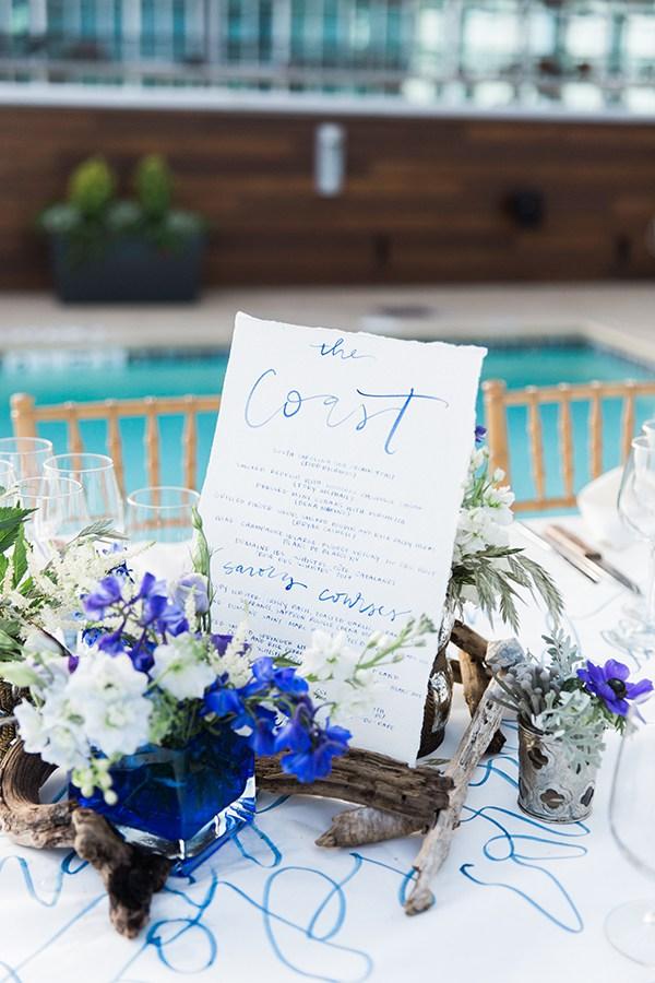 Coastal wedding inspiration with handwritten menu