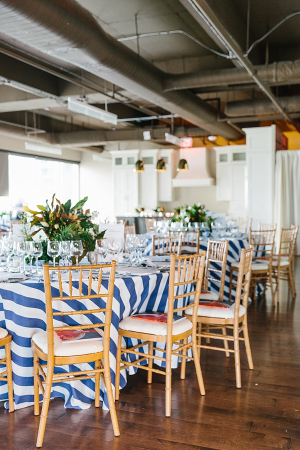 Navy stripe linens and bamboo chairs, Waiting on Martha