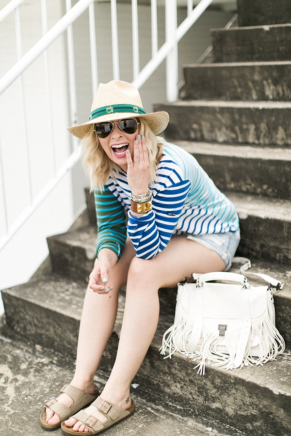 Blue stripe top with aviator sunglasses and white fringe bag, Waiting on Martha outfit ideas