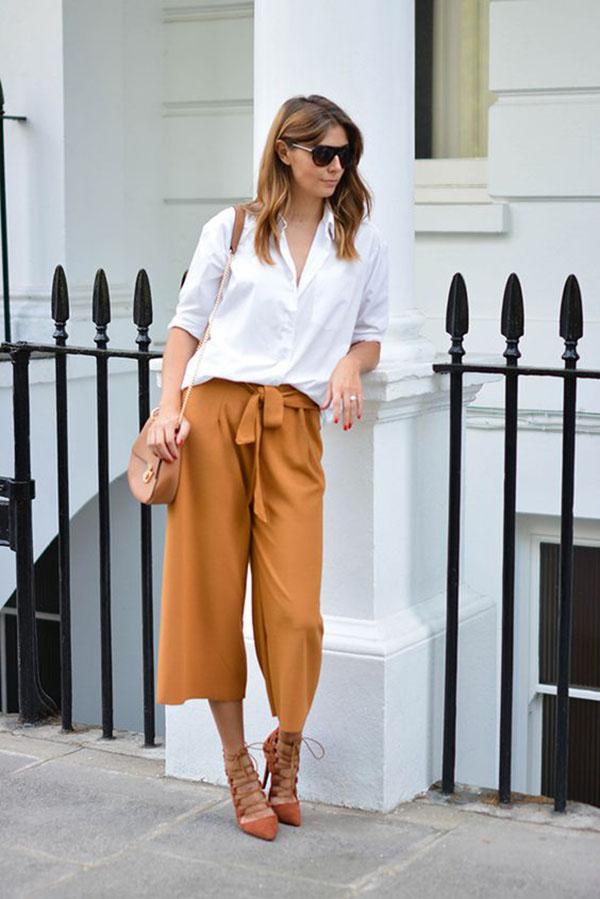 Tie-waist culottes