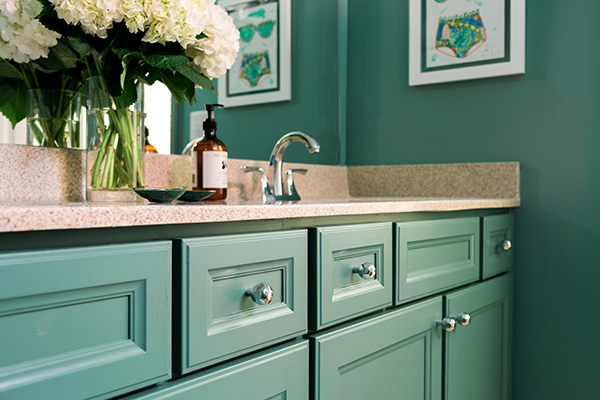Green bathroom reveal by @waitingonmartha