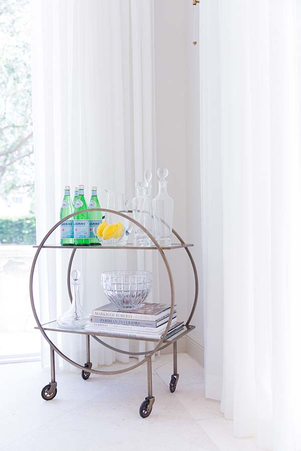 Entertaining tips and bar cart styling via Waiting on Martha