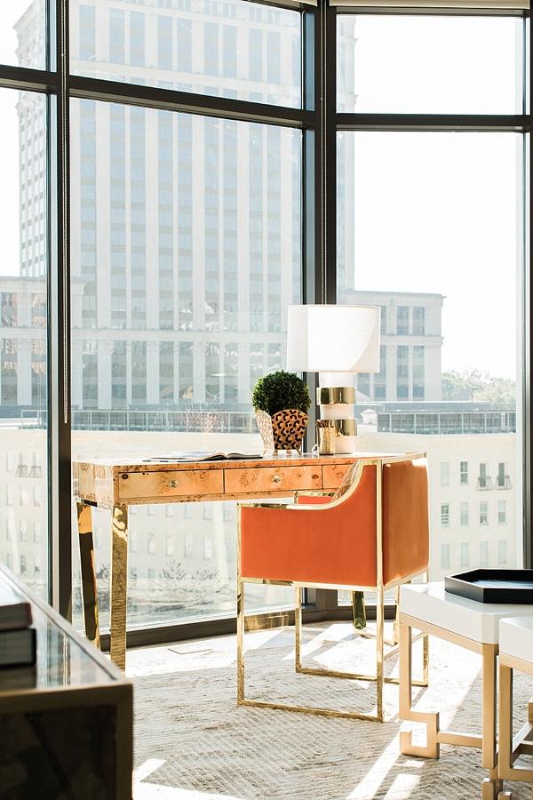 Desk and orange chair, One Room Challenge on waitingonmartha.com