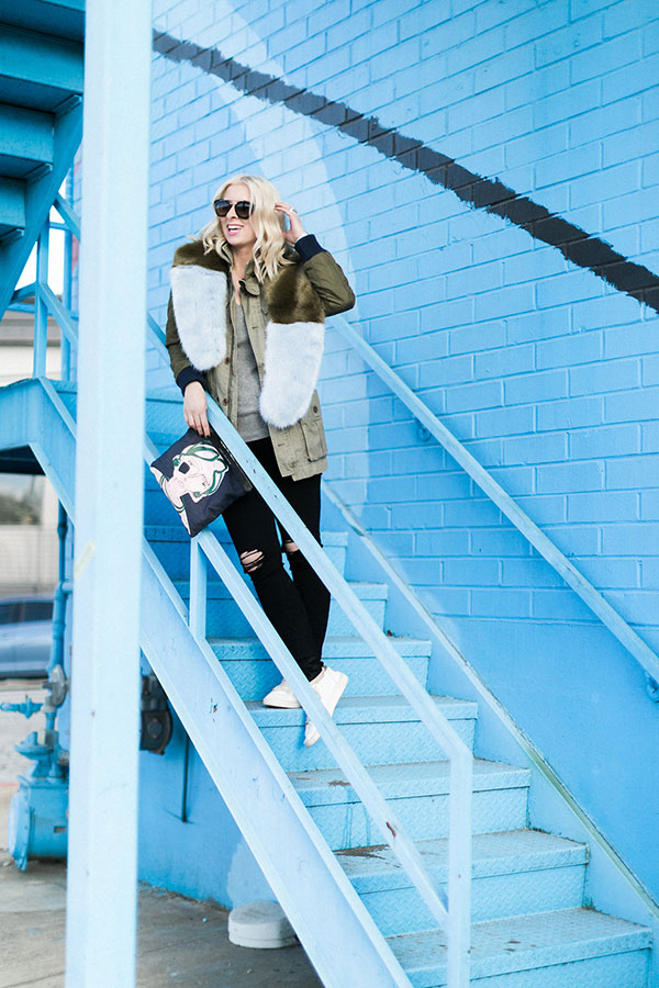 Colorblock faux fur scarf with sneakers @waitingonmartha
