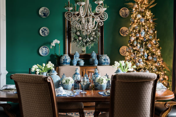 Blue and white and emerald holiday decor, @waitingonmartha
