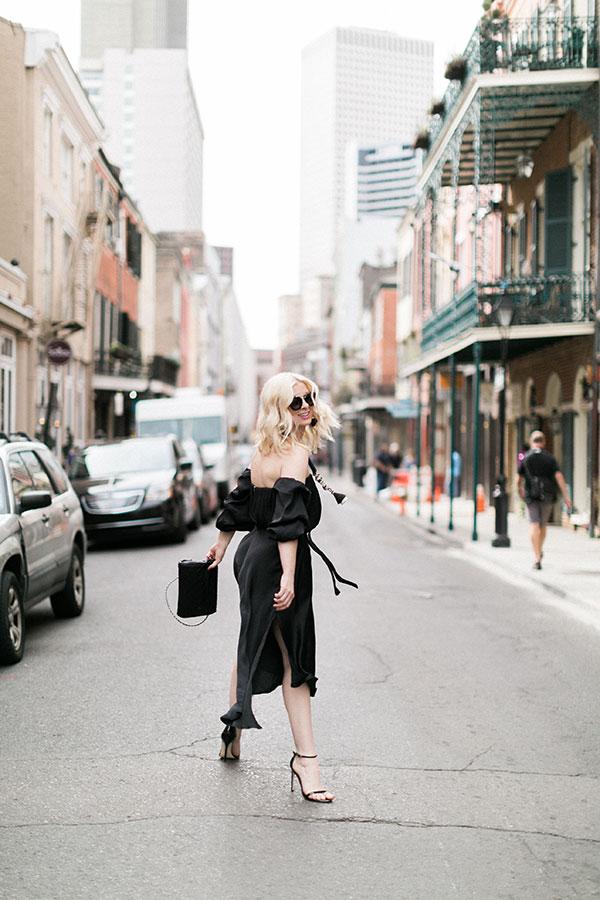 Black off the shoulder dress on waitingonmartha.com