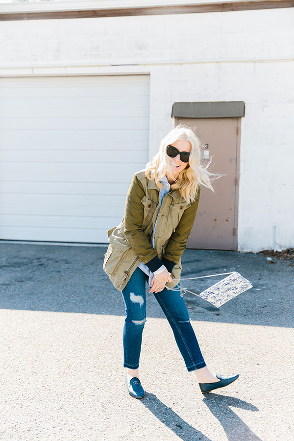 The perfect spring layering pieces: a military jacket, Chanel flats and boyfriend jeans