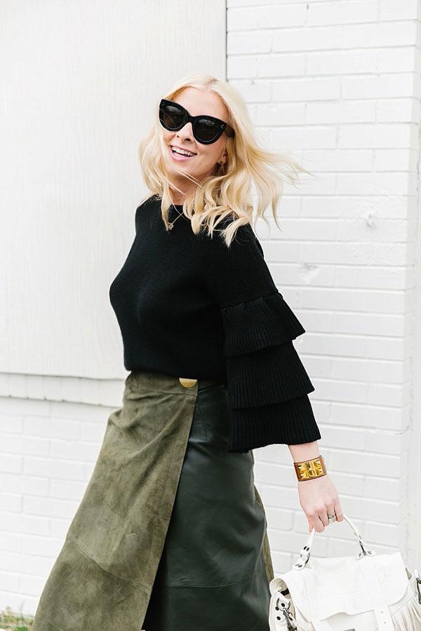 Black sweater with dark green skirt, waitingonmartha.com