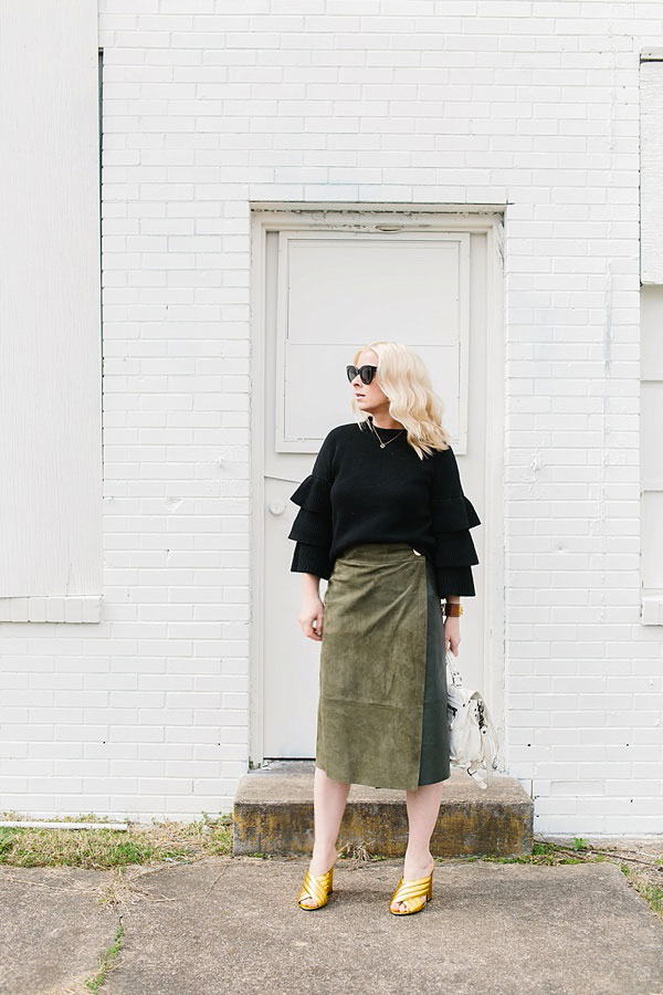 Ruffle sweater with suede skirt outfit, @waitingonmartha
