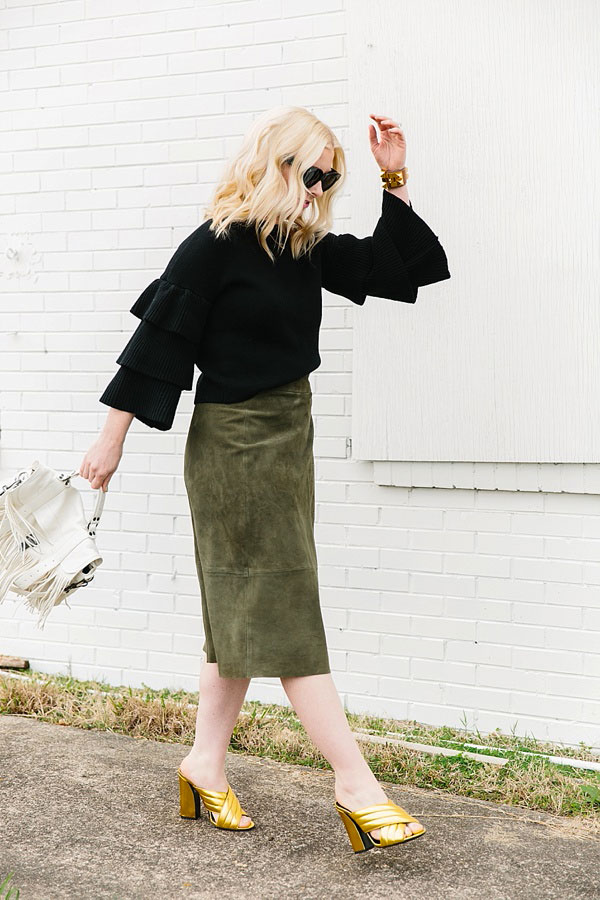 Black sweater with green suede skirt, waitingonmartha.com