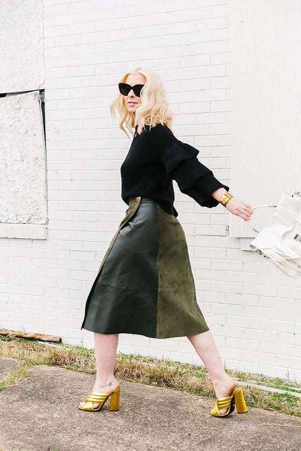Green leather and suede skirt outfit ideas via @waitingonmartha