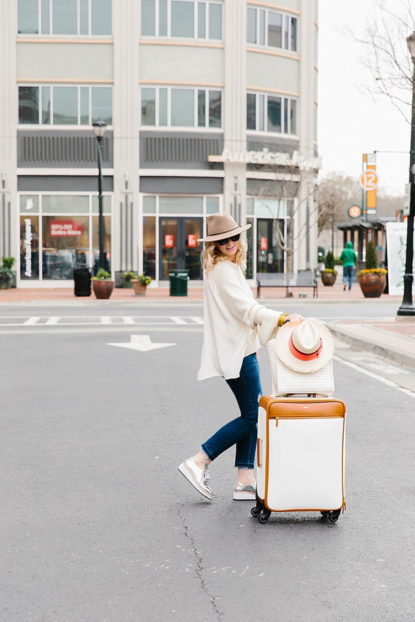White luggage and silver sneakers, waitingonmartha.com