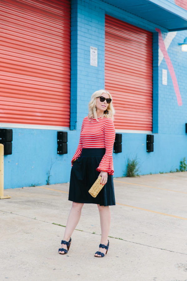 Red striped shirt with flare sleeves + black skirt, Waiting on Martha