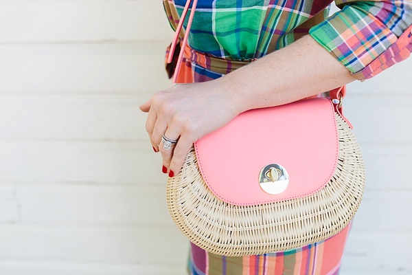 Pink and natural wicker bag on waitingonmartha.com