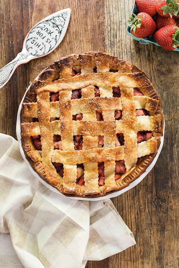 Homemade Strawberry Rhubarb Pie recipe on Waiting on Martha