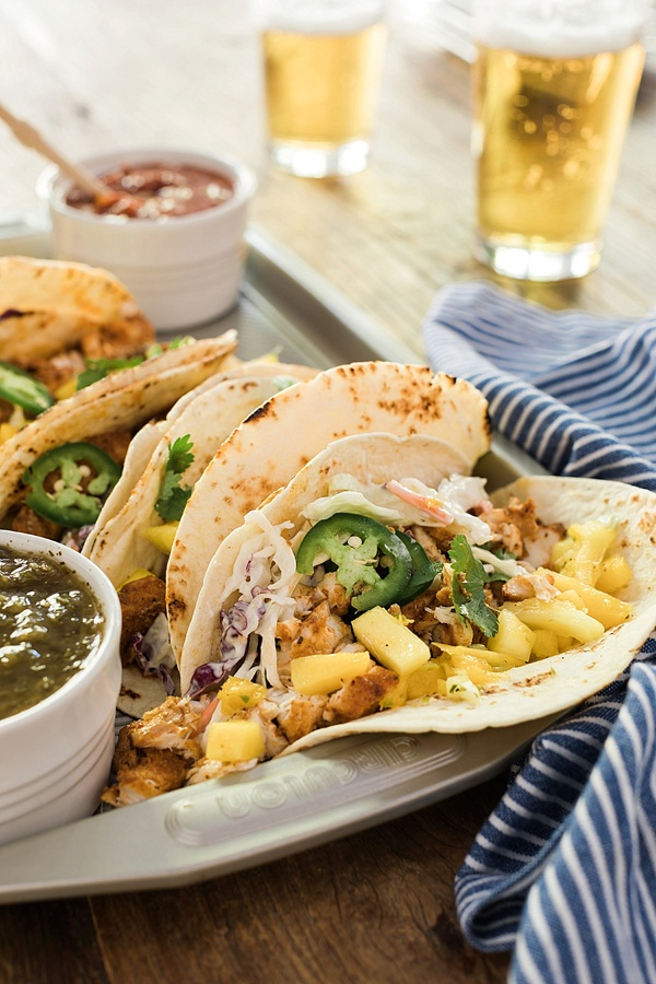 Blackened Fish Tacos with Creamy Coleslaw and Pineapple Salsa #recipe on Waiting on Martha