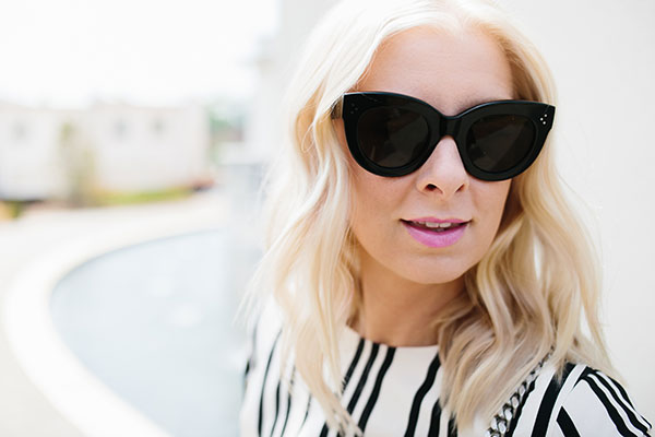 Black Celine sunglasses with black and white stripes