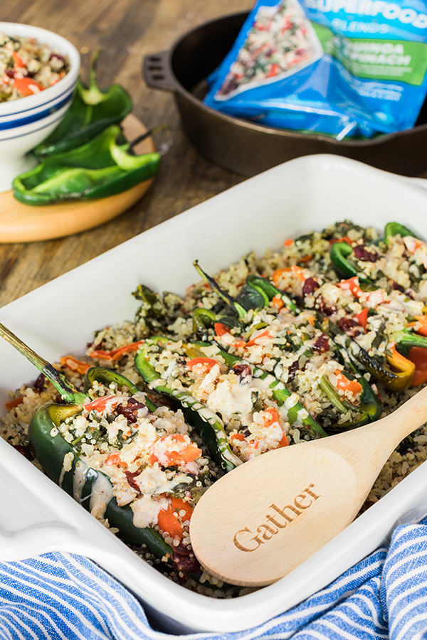 Birds Eye spinach and quinoa blend in healthy stuffed peppers on Waiting on Martha