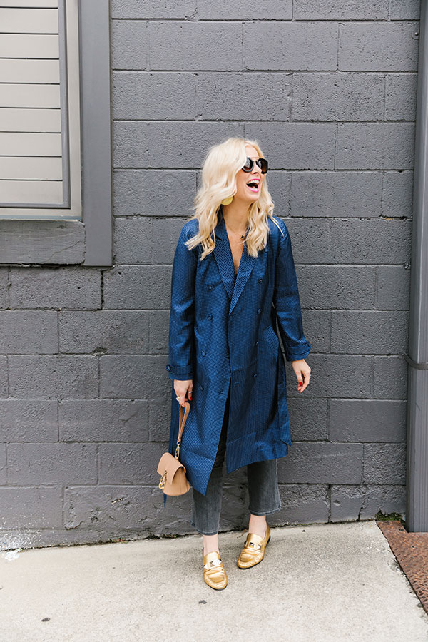 Blue silk trench coat from J.Crew on Waiting on Martha