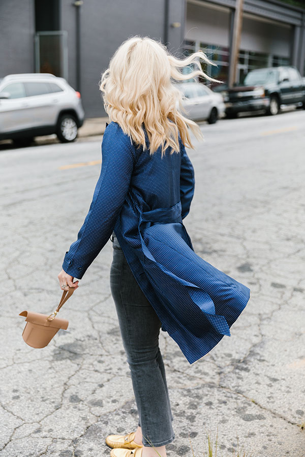 Silk trench dress outfit idea with jeans and flats, Waiting on Martha