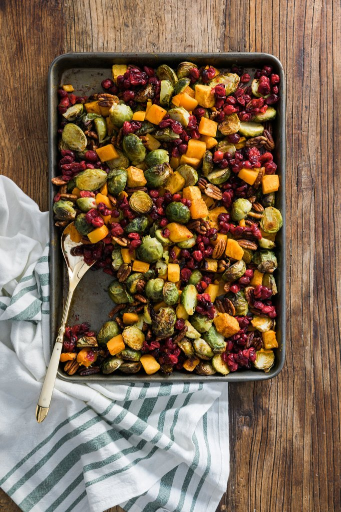 Sheet Pan Brussel Sprouts with Butternut Squash, Pecans & Cranberries