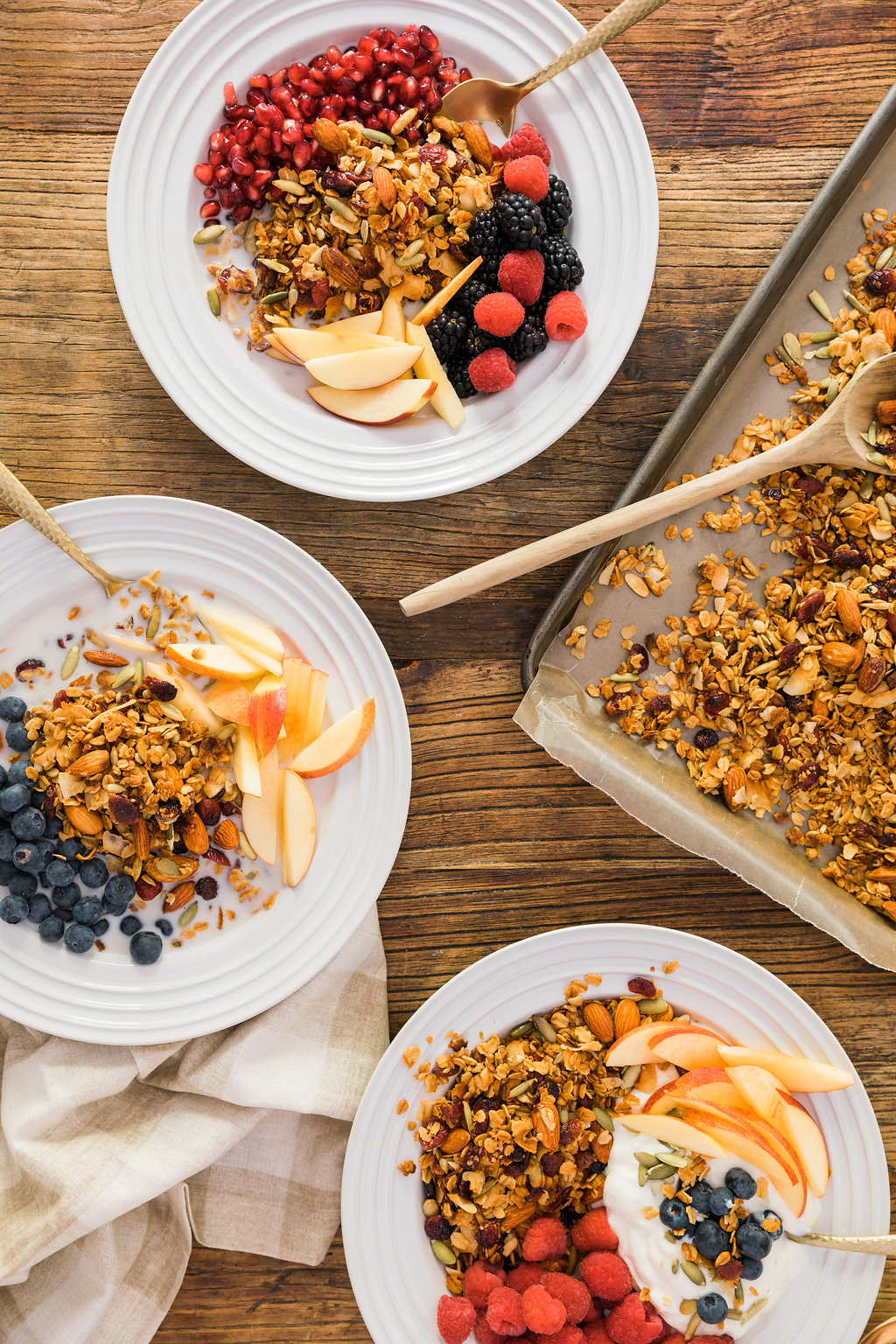 An easy homemade granola recipe full of almonds, sunflower seeds, coconut, and cranberry.