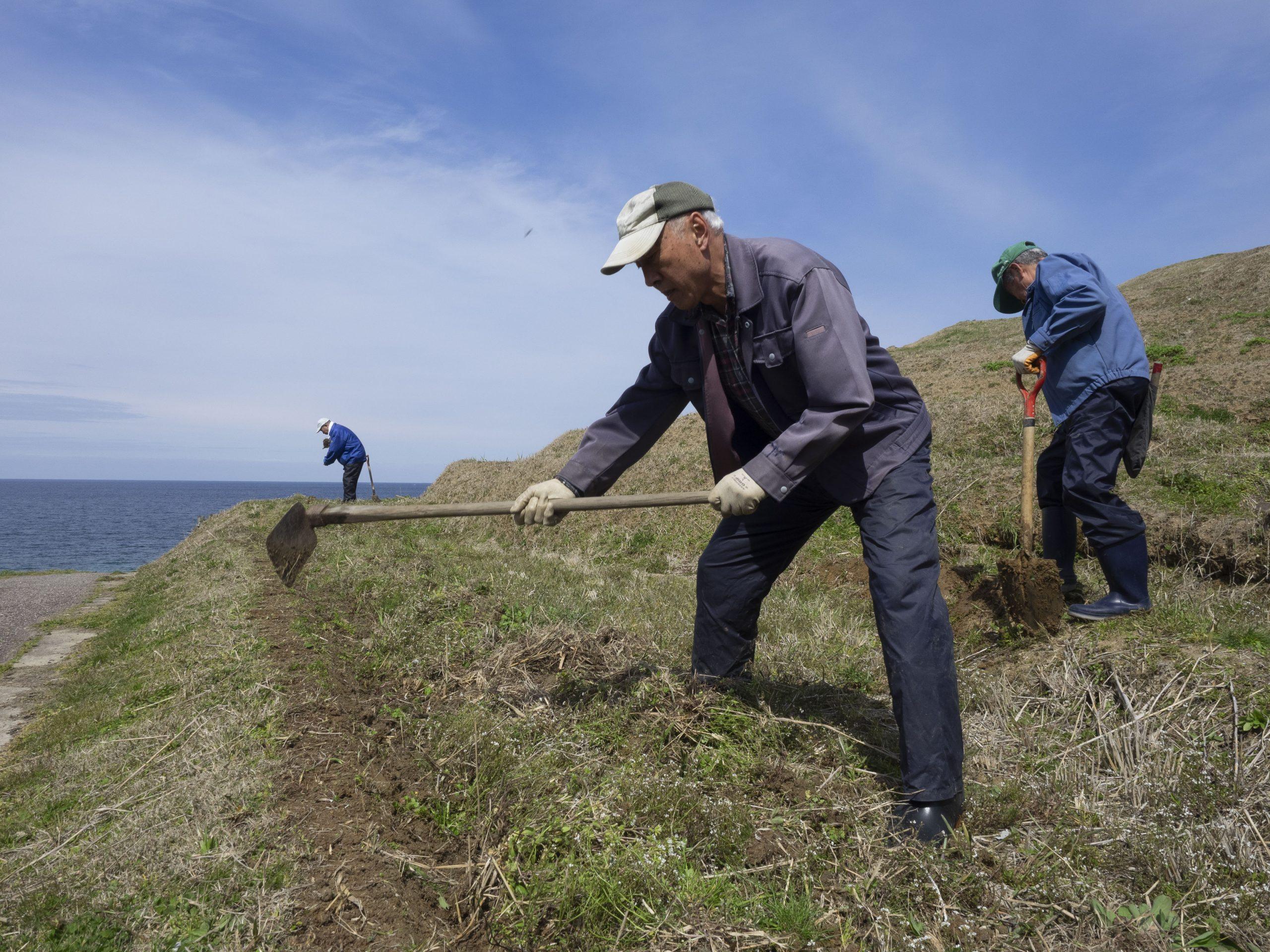 今日の白米千枚田|畔直しが行われました。平らに削れてしまった畔だけを手作業で直していきます。